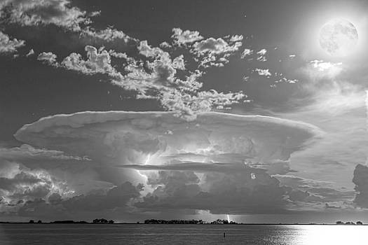 Full Moon Lightning Storm in Black and White by James BO  Insogna