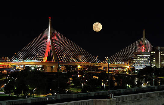 Juergen Roth - Full Moon Rising Across Boston Zakim Bridge