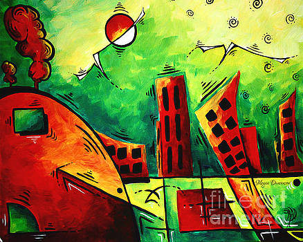 Fun Contemporary Abstract PoP Art Style Cityscape Landscape Evergreen by MADART by Megan Duncanson