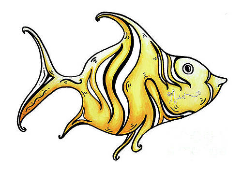 Fun Whimsical Yellow Fish Icon Design by Megan Duncanson by Megan Duncanson