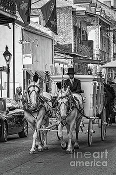 Funeral Procession French Quarter - NOLA - bw by Kathleen K Parker