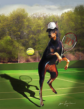 funny pet scene tennis playing Doberman by Gina Femrite