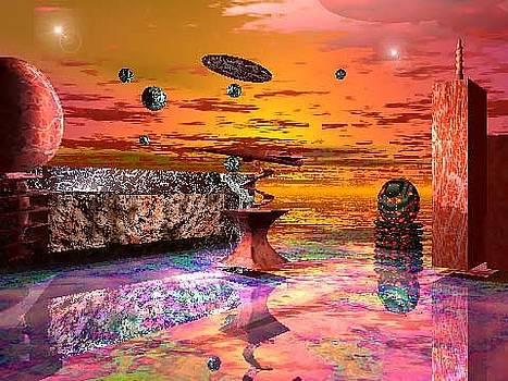 Future Horizions Firey Sunset by Jacqueline Lloyd
