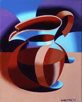 Futurist Coffee Pot Oil Painting by Mark Webster