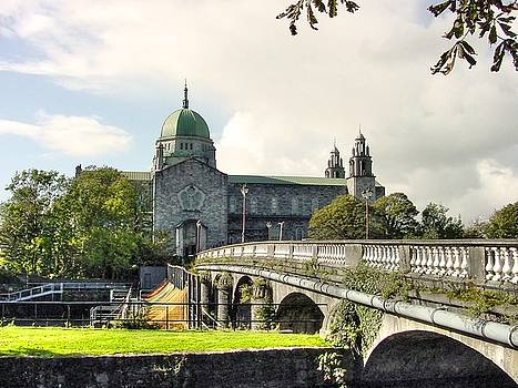 Galway Cathedral and the Salmon Weir Bridge over the River Corrib Ireland by Deborah Squires