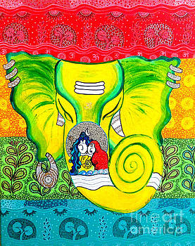 Ganesha in GondArt by Shachi Srivastava