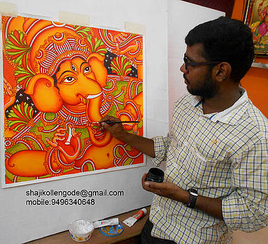 Ganesha- Mural Painting by Shaji Kollengode