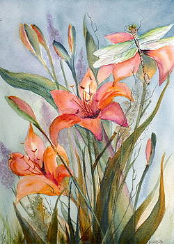 Garden Lily Watercolor by Marsha Woods