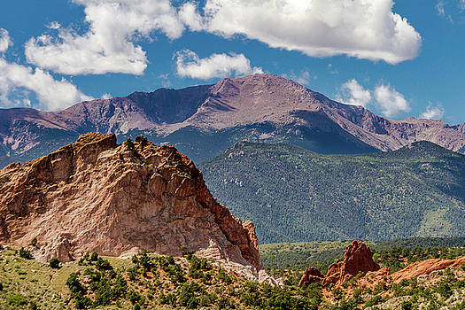 Garden Of The Gods and Pikes Peak by Bill Gallagher