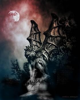 Gargoyle Blood Moon Sky Gothic by Melissa Bittinger