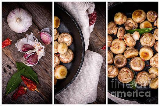 Garlic mushrooms triptych by Jane Rix