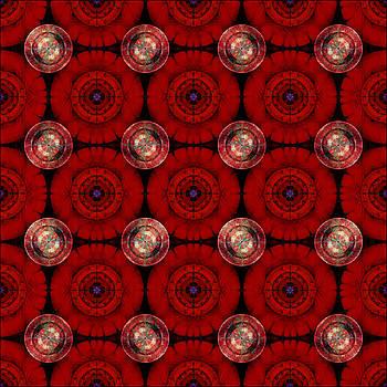 Geometric Red Flowers by Gillian Owen