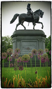 George Washington and the Boston Public Garden with Alliums by Joann Vitali