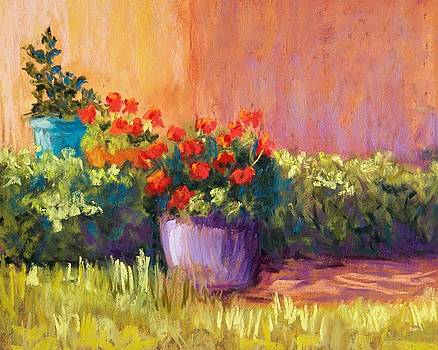 Geraniums and Adobe by Candy Mayer