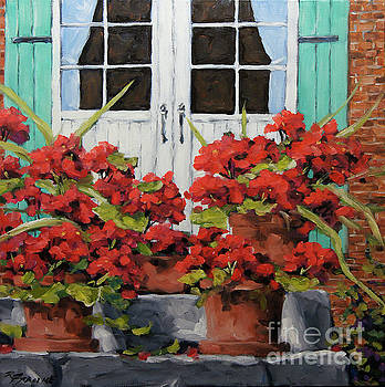 Geraniums on the Porch by Richard T Pranke