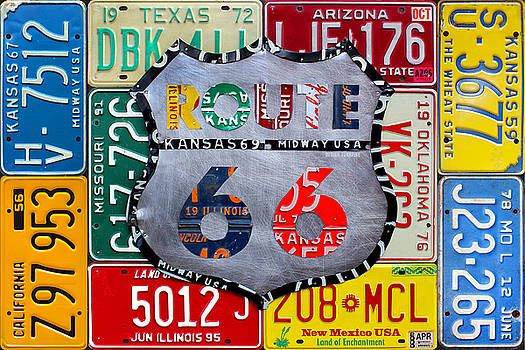 Get Your Kicks on Route 66 Recycled Vintage State License Plate Art by Design Turnpike by Design Turnpike
