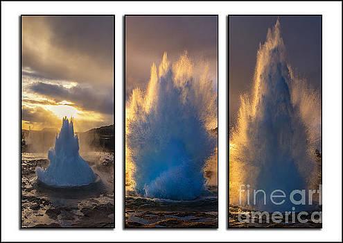 Geysir Triptych Iceland by Chris Thaxter