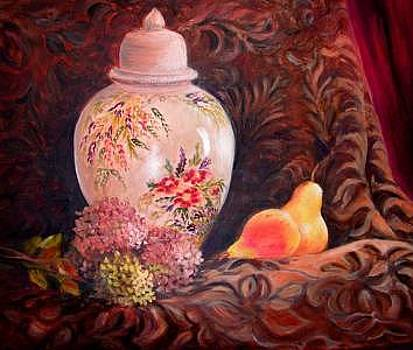 Ginger Jar And Flowers by Nita Leger Casey