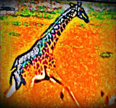 Giraffe In flight by Jacqueline Mason