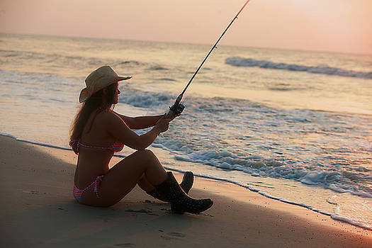 Girl Fishing by Walt Stoneburner