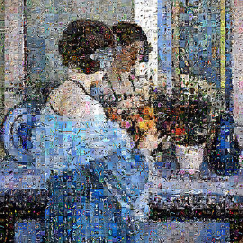 Girl in Blue Arranging Flowers by Gilberto Viciedo