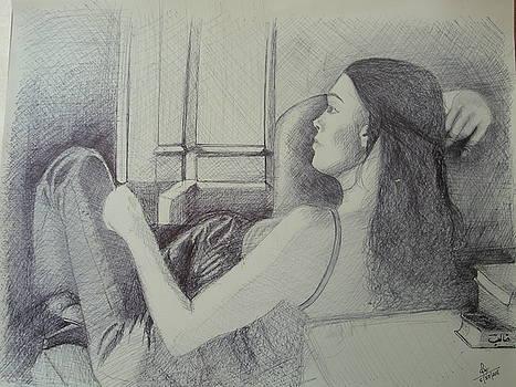 Girl next to window by Reza Naqvi