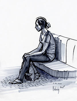 Girl On A Metro Station by Natoly Art