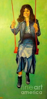 GIRL ON THE SWING  80x160 cm by Dagmar Helbig