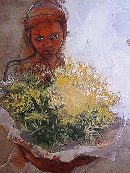 Girl with Flowers by Alida Bothma
