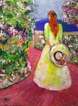 Patricia Taylor - Girl with Hat on the Garden Path