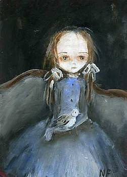 Girl with pigeon by Mya Fitzpatrick