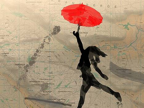 Girl with Red Umbrella by Andre Pillay