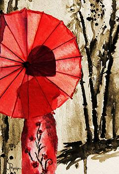 Girl with the Red Umbrella  by Andrea Realpe