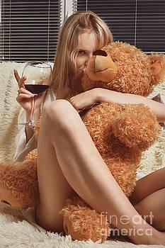 Girl With Wine by Aleksey Tugolukov