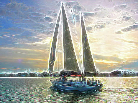 Glimmering Sailboat by Ella Char