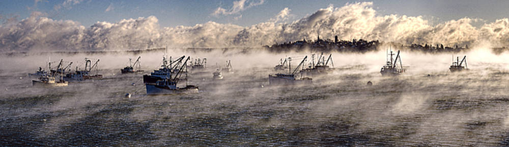 Globe Cove Fishing Boats Moored in Sea Smoke by Marty Saccone