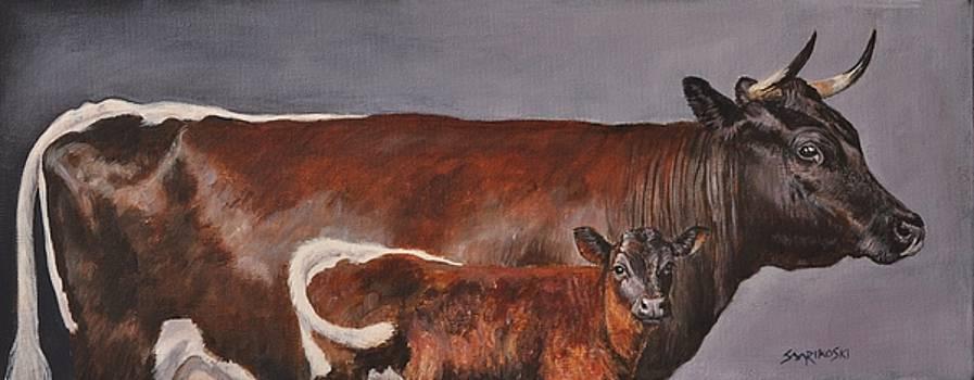 Gloucester Cow and Calf Study by Louise Charles-Saarikoski