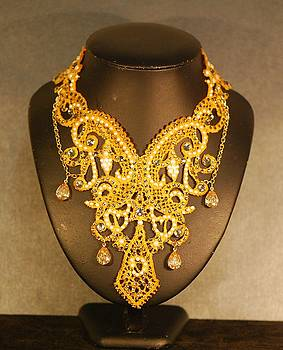 Gold Guipure Lace Collar Necklace by Janine Antulov