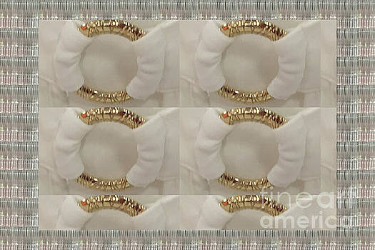 Gold n White Clothing Fabric Texture n pattern tshirts pillows towels christmas holidays festivals  by Navin Joshi