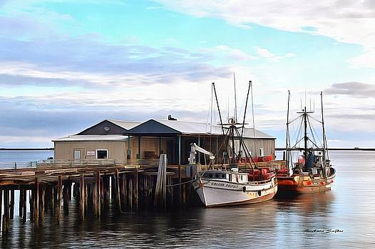 Golden Dolphin Eel Fishing Boat Port Angeles Washington Painting by Barbara Snyder