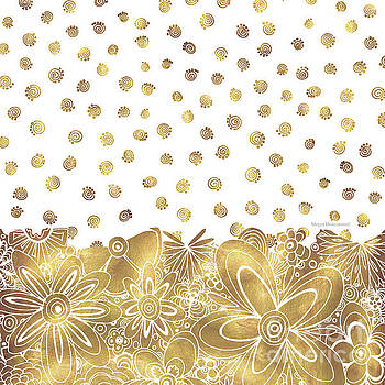 Golden Floral Curly Cue Pattern Chic and Contemporary Trendy Art by Megan Duncanson by Megan Duncanson