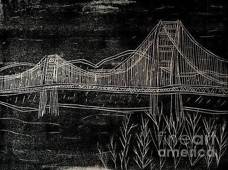 Golden Gate Bridge Black and White Woodcut Print  by Marina McLain