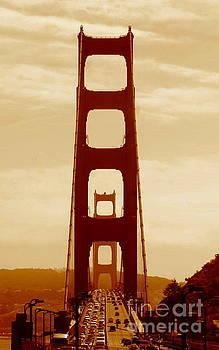 Golden Gate Bridge In California A Sepia Tone Perspective by Michael Hoard