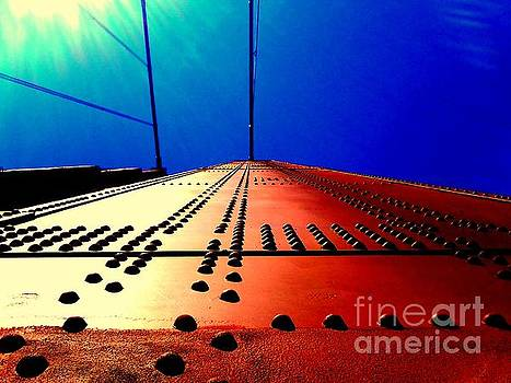 Golden Gate Bridge In California Rivets And Cables by Michael Hoard