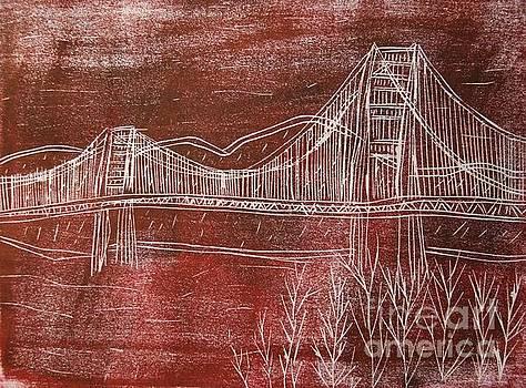 Golden Gate Bridge Red Woodcut Print  by Marina McLain