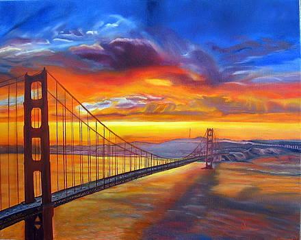 Golden Gate Bridge Sunset by LaVonne Hand