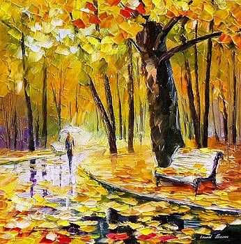Golden Leafs - PALETTE KNIFE Oil Painting On Canvas By Leonid Afremov by Leonid Afremov