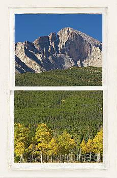 James BO Insogna - Golden Longs Peak View Through White Rustic Distressed Window