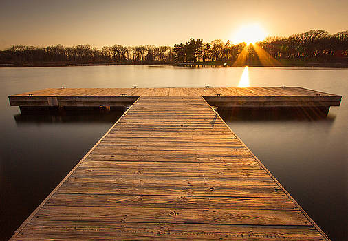Golden Moment on the Dock by Jackie Novak