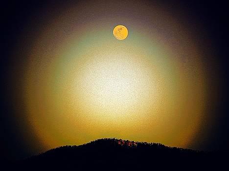 Golden Moon Glow Over Jemez Mountains by Joseph Frank Baraba
